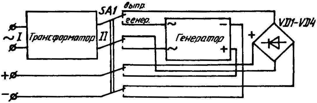 Возможная архитектоника электронного умформера для преобразований неременного напряжения в пониженное постоянное и наоборот