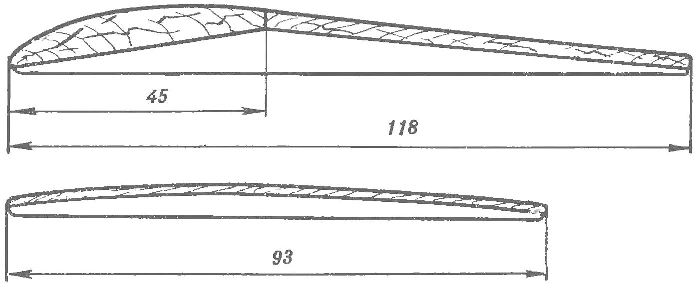 Рис. 2. Модель планера «Звездный поток»; профиль крыла (сверху) и профиль стабилизатора.