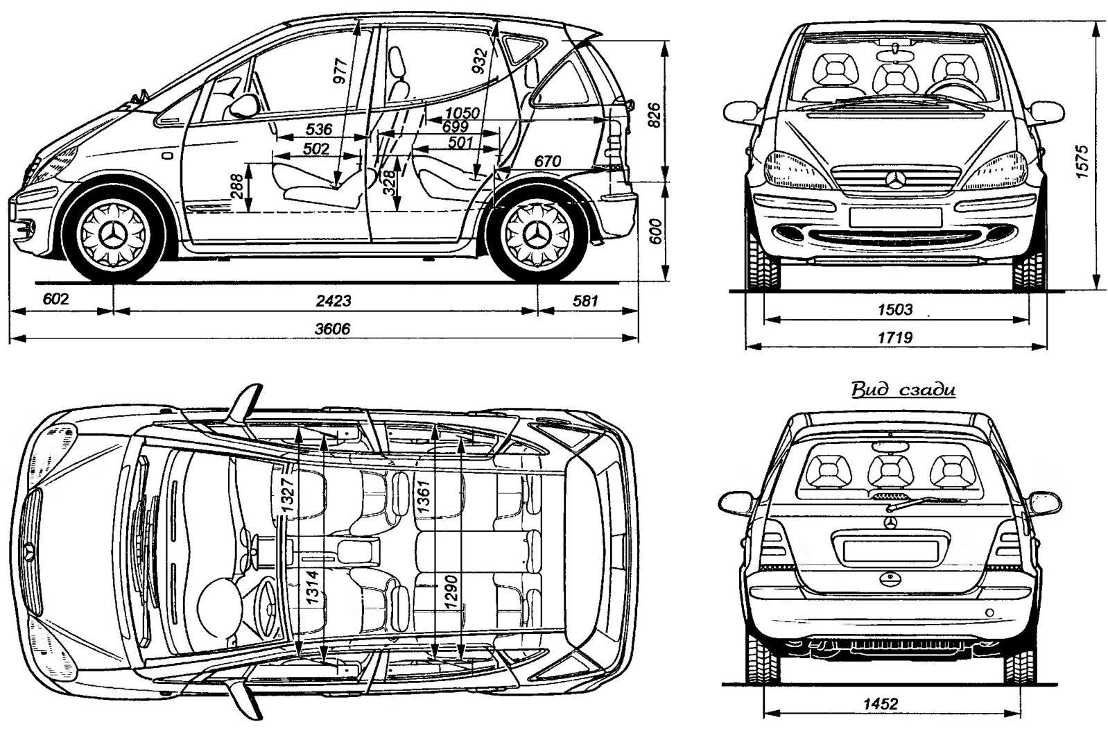 Геометрическая схема автомобиля MERCEDES-BENZ А 140 (стандартная версия)