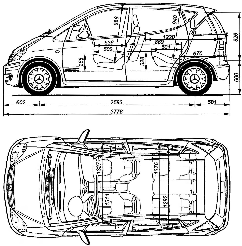 Геометрическая схема автомобиля MERCEDES-BENZ А 140 (удлиненная версия)