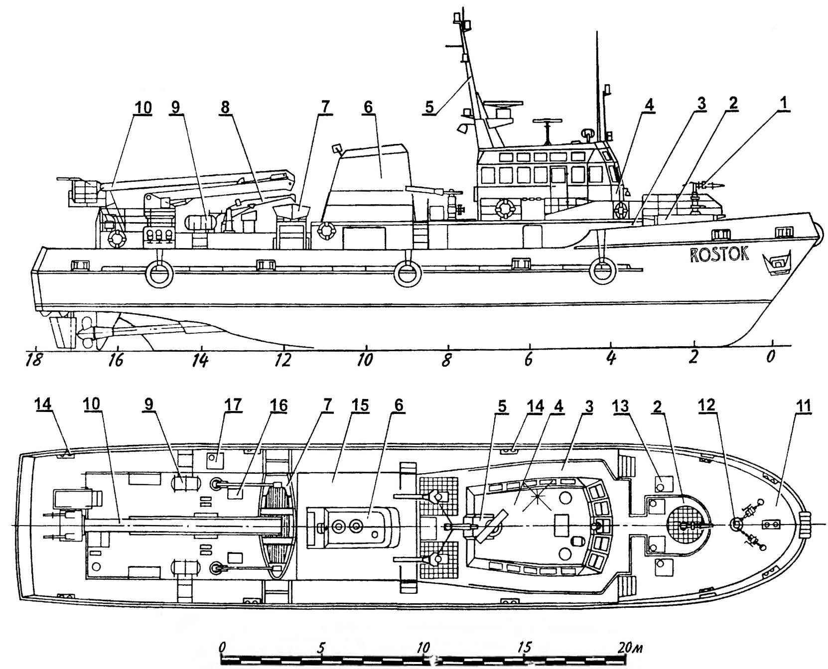 The layout of the fire and rescue boat ROSTOK