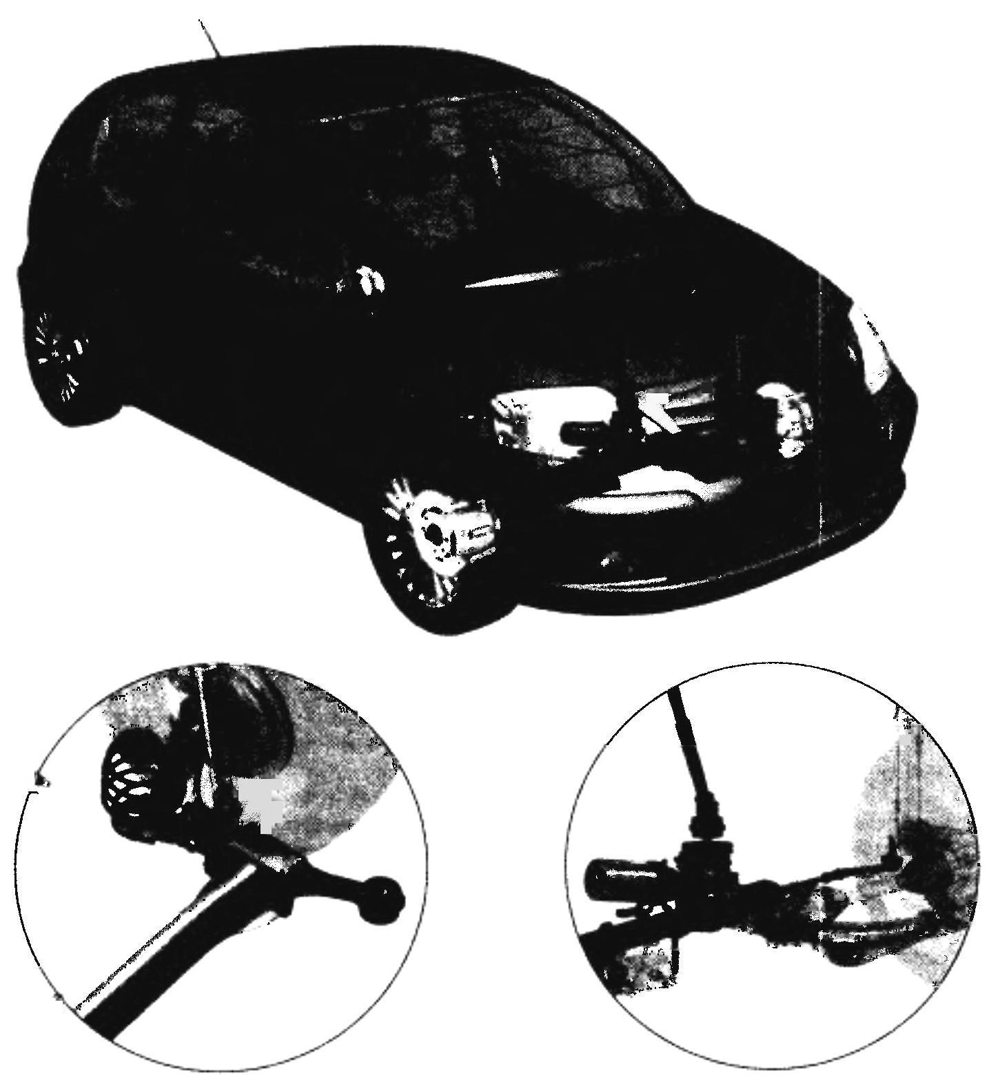 CITROEN С3 — ходовая часть. Внизу справа — независимая пружинная подвеска типа McPherson; слева — полузависимая пружинная задняя подвеска