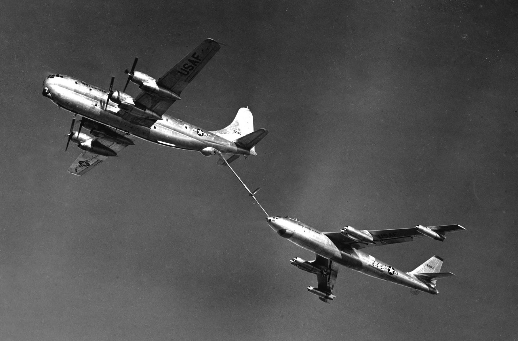 Air refueling bomber Boeing-47E Stratojet from the aircraft-tanker Boeing KC-97G Stratofreighter