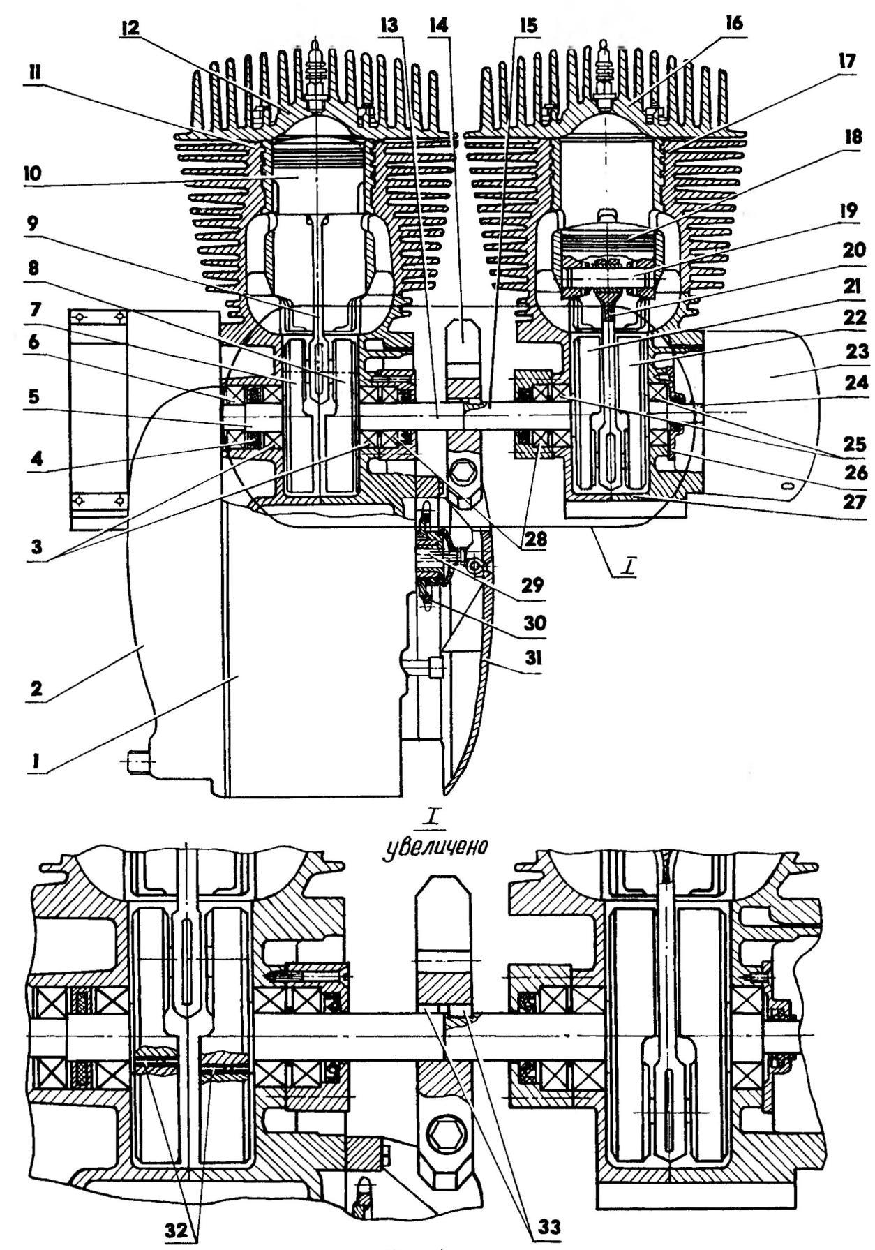 Разрез силовой установки из спаренных двигателей