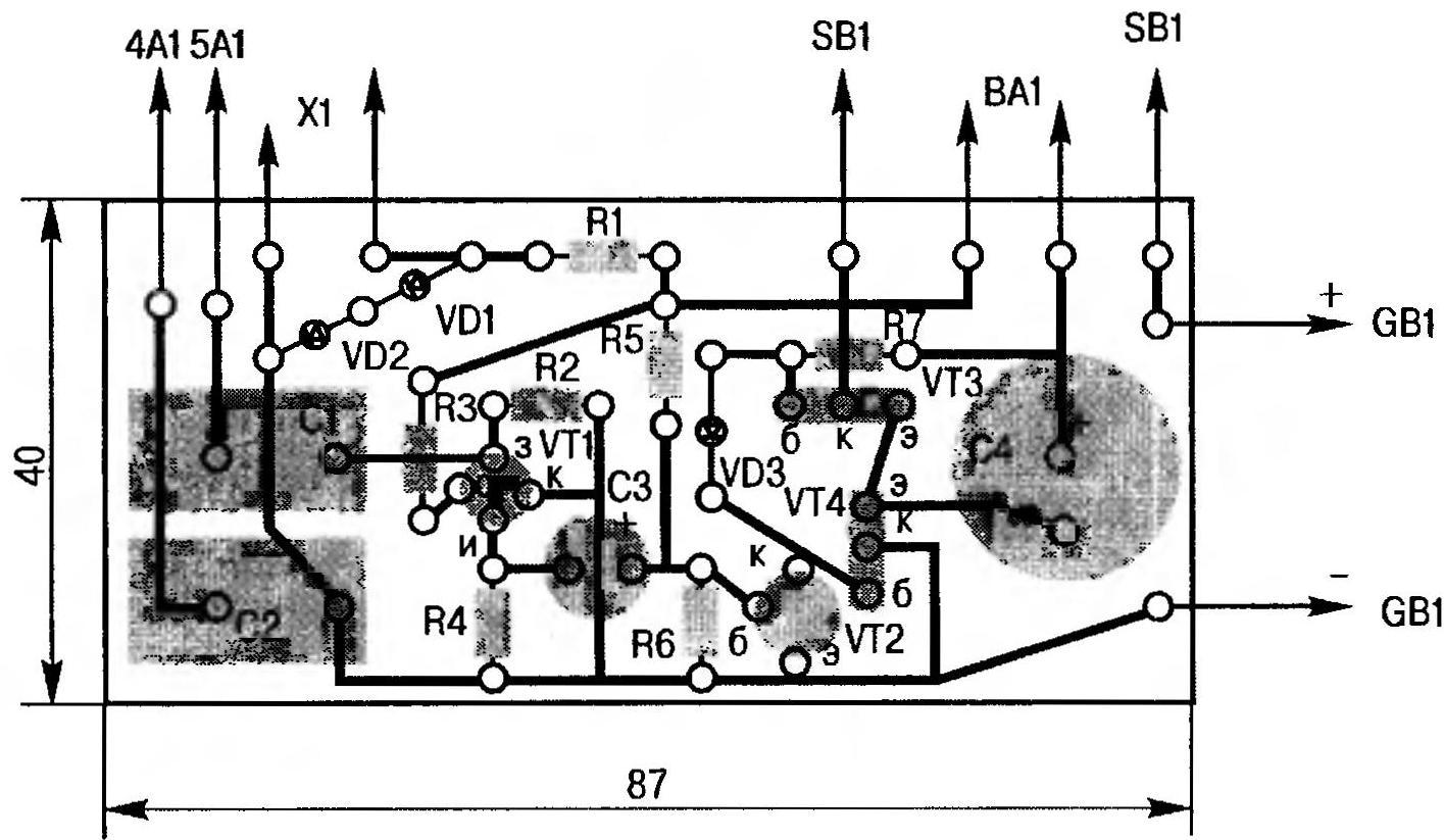 Рис. 4. Топология печатной платы самодельного транзисторного усилителя с двухтактным выходом, нагруженным на динамик