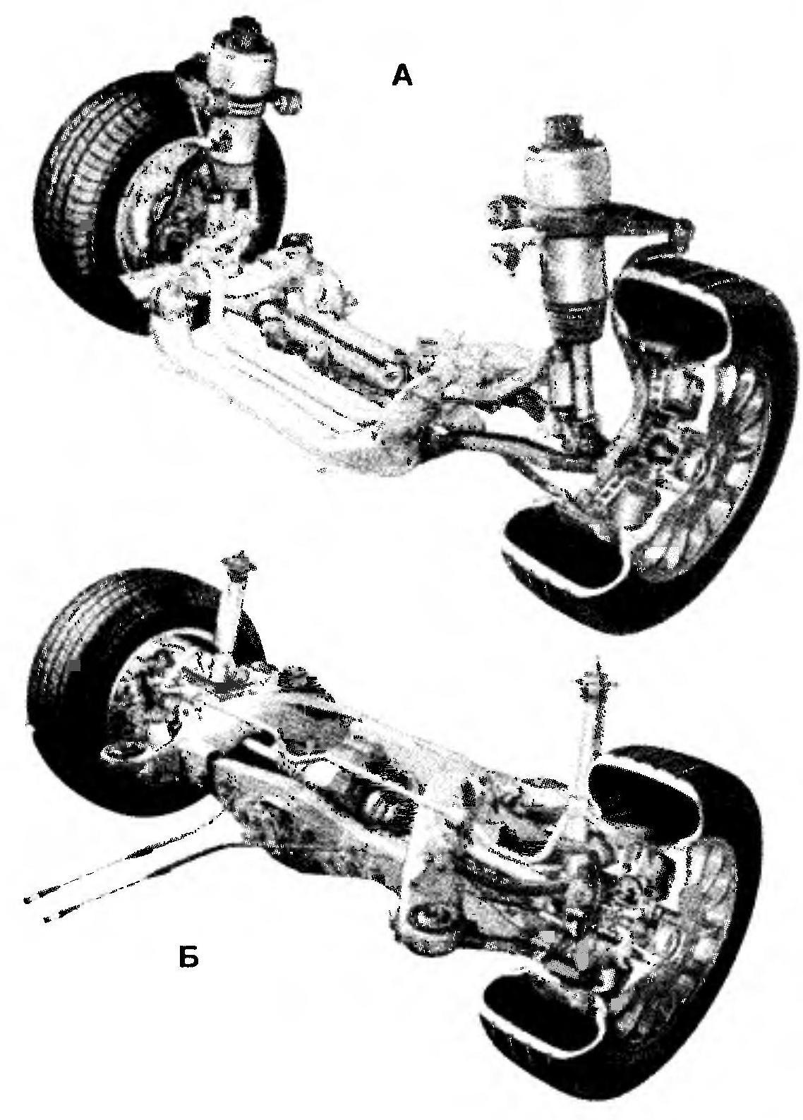 Передняя (А) и задняя (Б) подвески автомобили