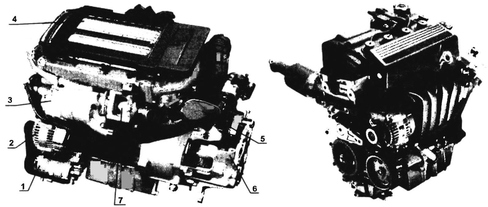 Двигатели автомобилей MINI COOPER S (слева) и MINI COOPER (справа)