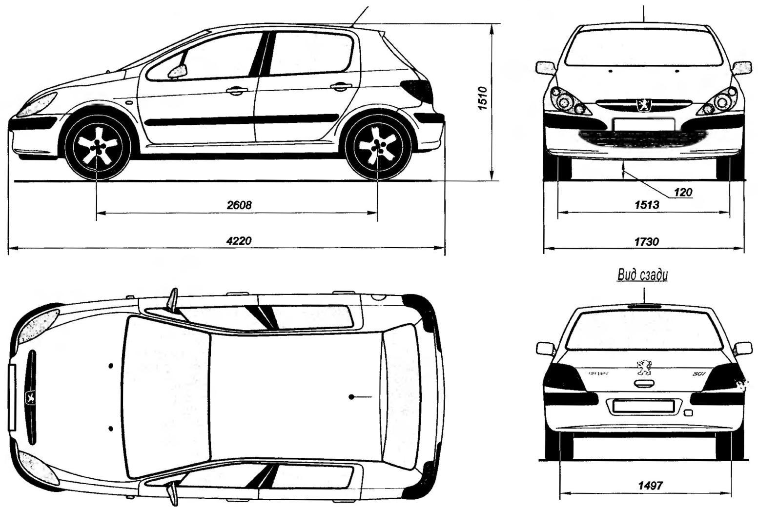 Геометрическая схема пятидверного автомобиля PEUGEOT 307