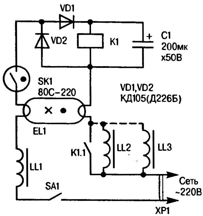 A circuit diagram of a modified lamp with the use of pescarului devices from obsolete siteamateur