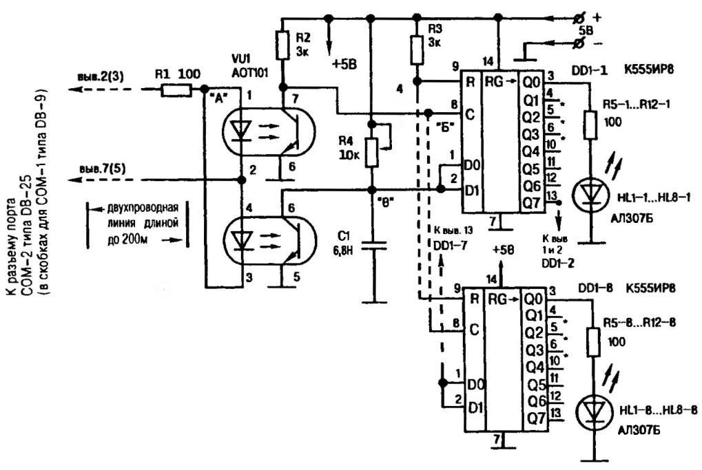 Рис.1. Принципиальная электрическая схема устройства компьютерного управления через СОМ-порт матричным табло из 8N светодиодов (где N— число микросхем К555ИР8) или другой маломощной многоканальной нагрузкой