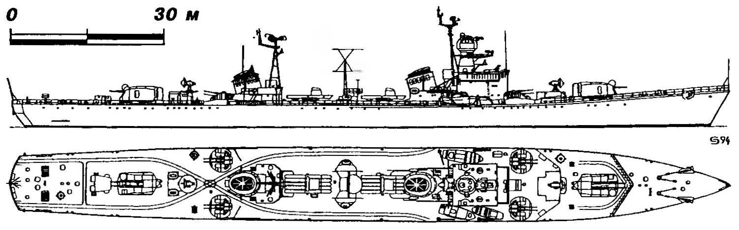 304. Эскадренный миноносец «Неустрашимый» (проект 41), СССР, 1955 г.