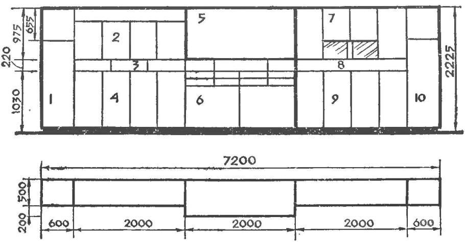 Рис. 2. Схема шкафа-стенки и назначение секций