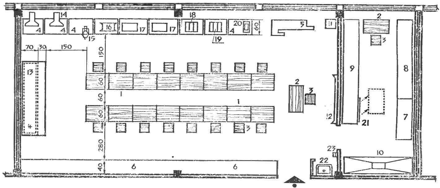 Рис. 1. План универсального помещения для детского технического творчества