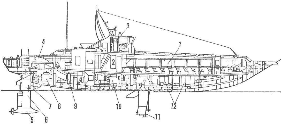 Рис. 1. Морской пассажирский газотурбоход «Тайфун» на автоматически управляемых подводных крыльях