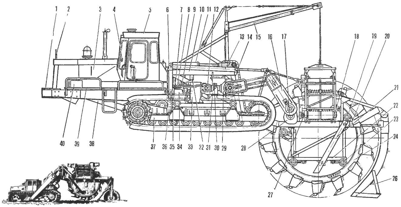 Рис. 2. Экскаватор траншейный роторный ЭТР253.