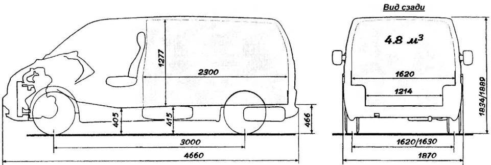 Mercedez-Benz VITO в варианте грузового фургона. Переднее поперечное расположение силового агрегата позволило сделать грузовой отсек VITO с ровным полом и максимально высоким, учитывая ограничения по габаритной высоте машины