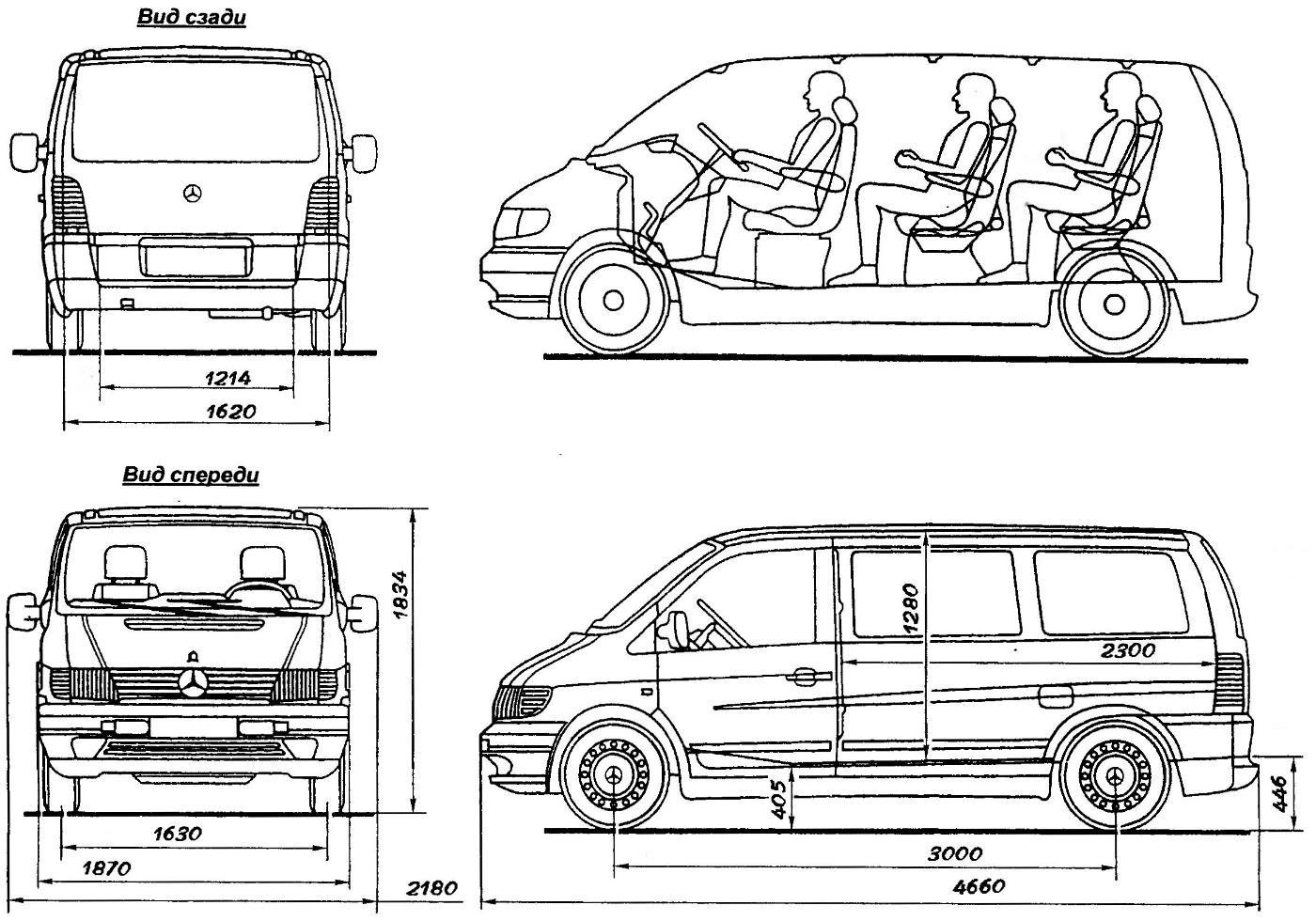 Mercedes-Benz VITO в варианте микроавтобуса (вверху — схема размещения пассажиров в салоне)