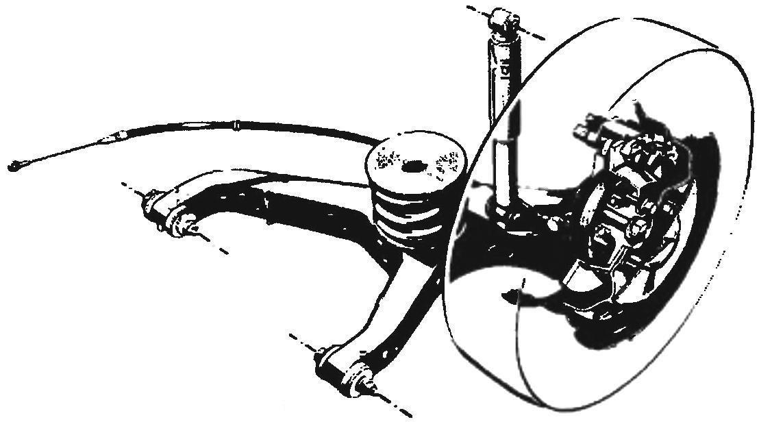 Подвеска передних колес типа «МакФерсон» с нижним штампованным рычагом, закрепленным на подрамнике вместе с реечным рулевым механизмом и стабилизатором поперечной устойчивости