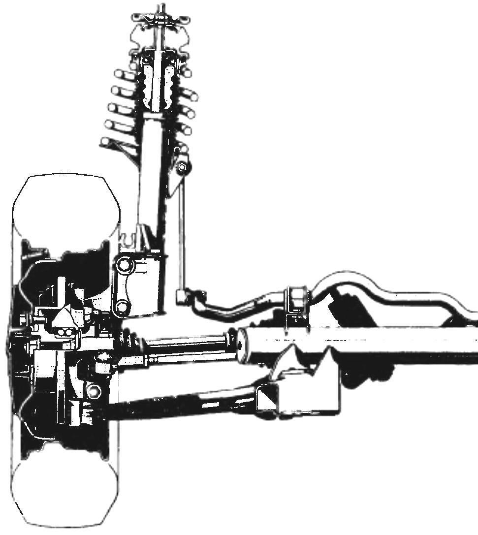 Подвеска задних колес независимая, на косых рычагах, с короткими пружинами. Стабилизатор поперечной устойчивости отсутствует. На рисунке видно, что внутри диска заднего дискового тормоза размещен и барабан стояночного