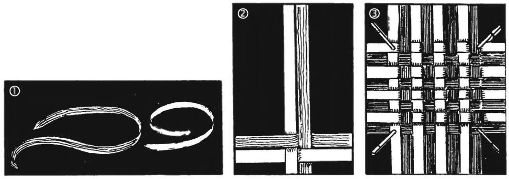 1. Пластиковые тарные ленты 2. Перекрестна — начало плетения 3. Заготовка коврика: крайние ленты в процессе работы можно при необходимости прихватить прищепками