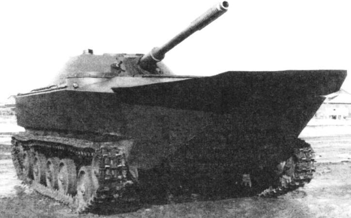 Easy floating tank K-90. Armament: 76.2 mm gun LB-76T, 7.62-mm machine gun SG-43, machine weight - 10.5 t