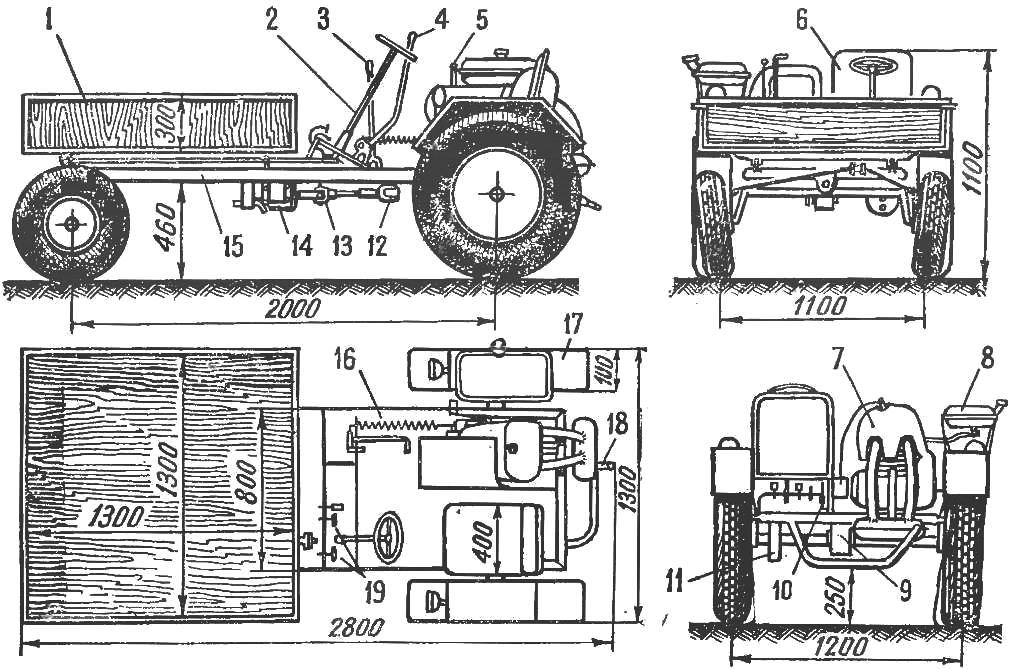 Рис. 2. Трактор «Дубровец» в четырех проекциях