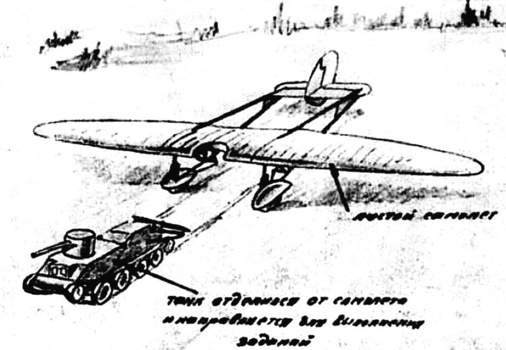 Отцепка танка от планёра «РАФНИК» (рисунок из проекта)