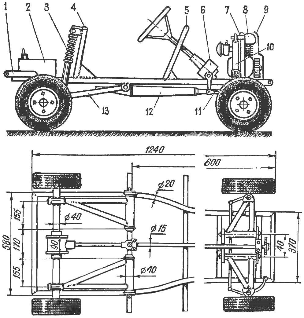 Рис. 3. Вид автомобиля сбоку и сверху со снятым кузовом