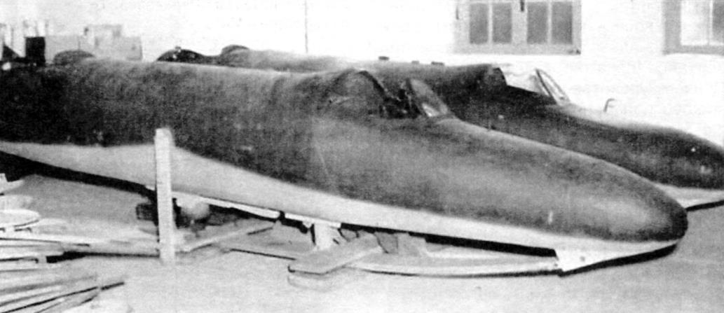 Учебный вариант планёра «Райхенберг II». Видны передняя кабина и посадочная лыжа. Крылья и фонарь второй кабины отсутствуют