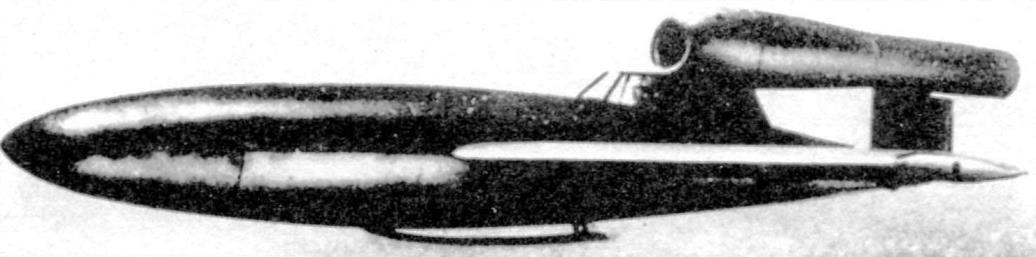 Сухопутный вариант «Райхенберг III» в полёте. Видна посадочная лыжа