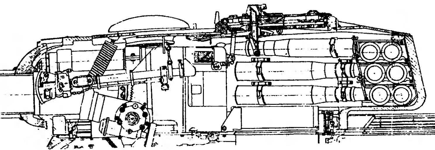 Схема установки 100-мм танковой пушки Д-10 в башне ганка Т-34-100