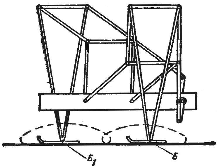 Рис. 3. Схема шагающего механизма с двумя «ногами».