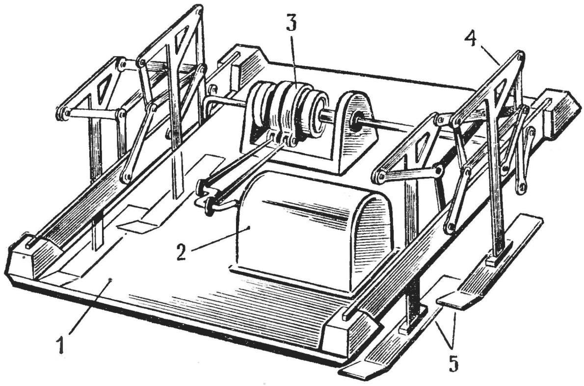 Рис. 5. Схема модели шагающей машины, построенной в ЦСЮТ РСФСР