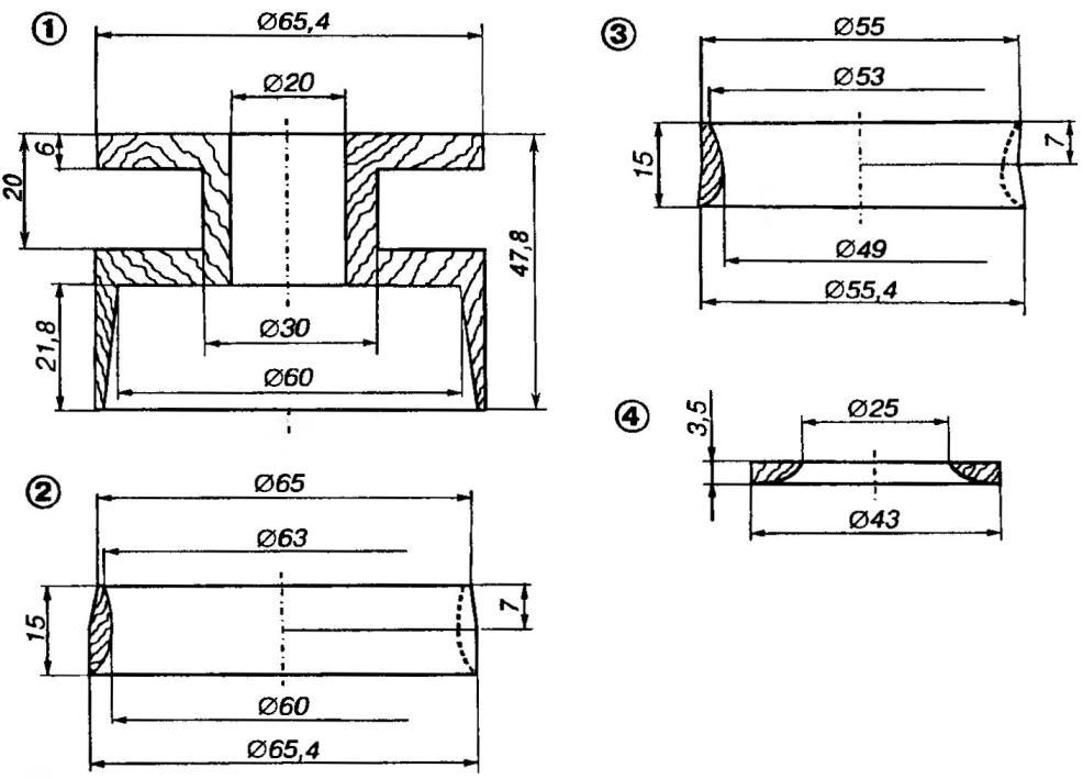 Рис.2. Внутренние элементы модели-копии В-5В