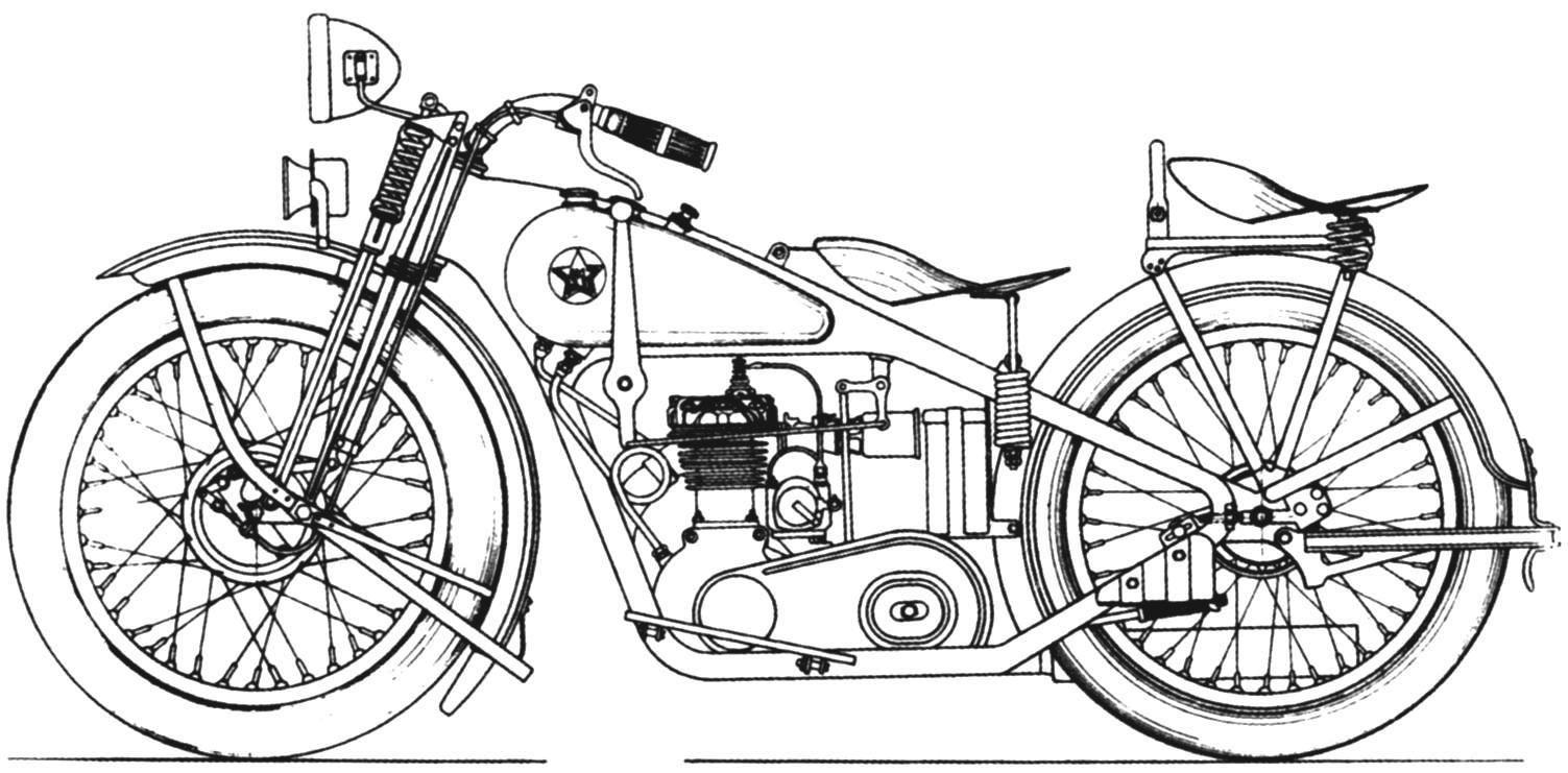 Заводской чертёж мотоцикла 1М 350