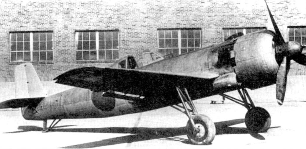 Plane Ki-115 Tsurugi. Seen the chassis without suspension and the oil cooler on the side of the fuselage. The color of The plane gray - no stroke. The fuselage in front of the cab has a black matte antiglare color