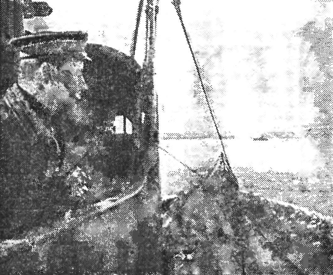 Г. И. Щедрин на рубке подводной лодки «С-56». 1943 год.