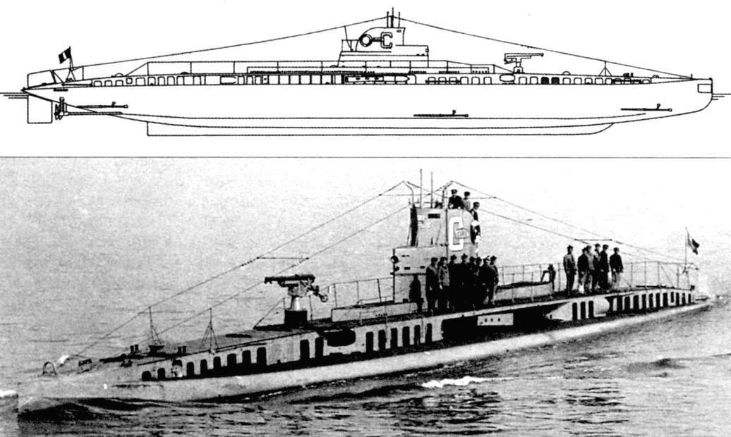 CURIE, 1924. Подводная лодка «Кюри» (после возвращения в состав французского флота), Франция, 1919 г.