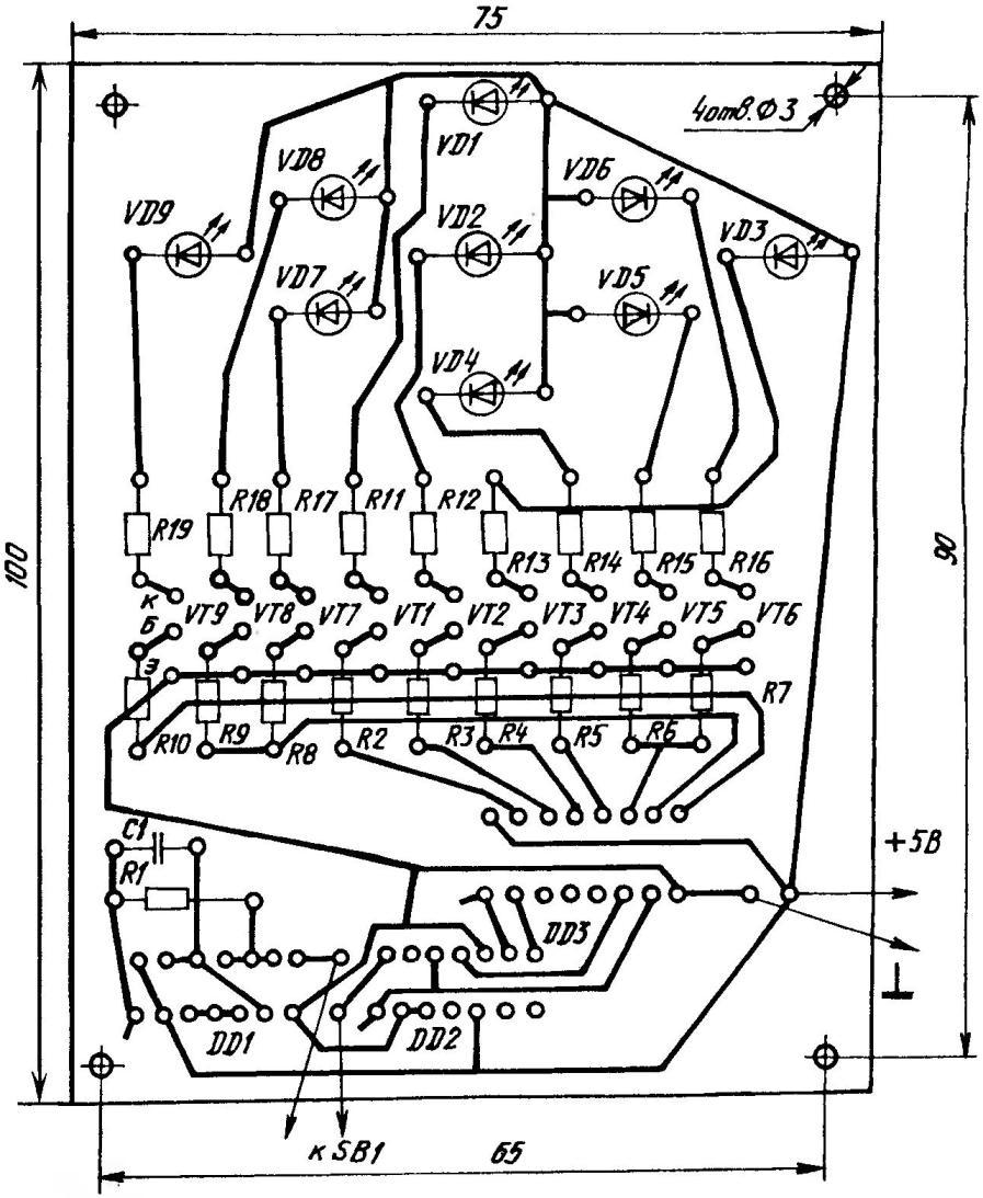 Печатная плата микрокегельбана с указанием особенностей распайки радиодеталей