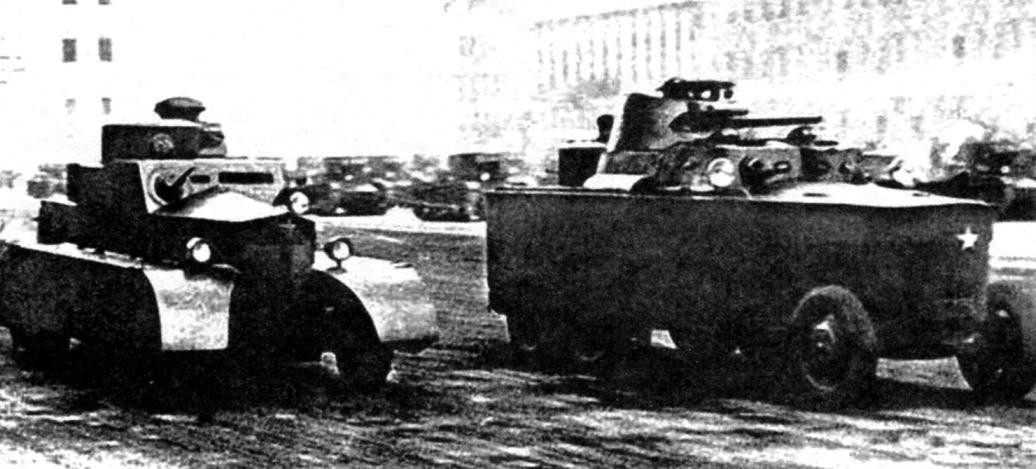 Броневики БАД-1 и БАД-2 на Первомайском параде в Ленинграде. 1933 г.