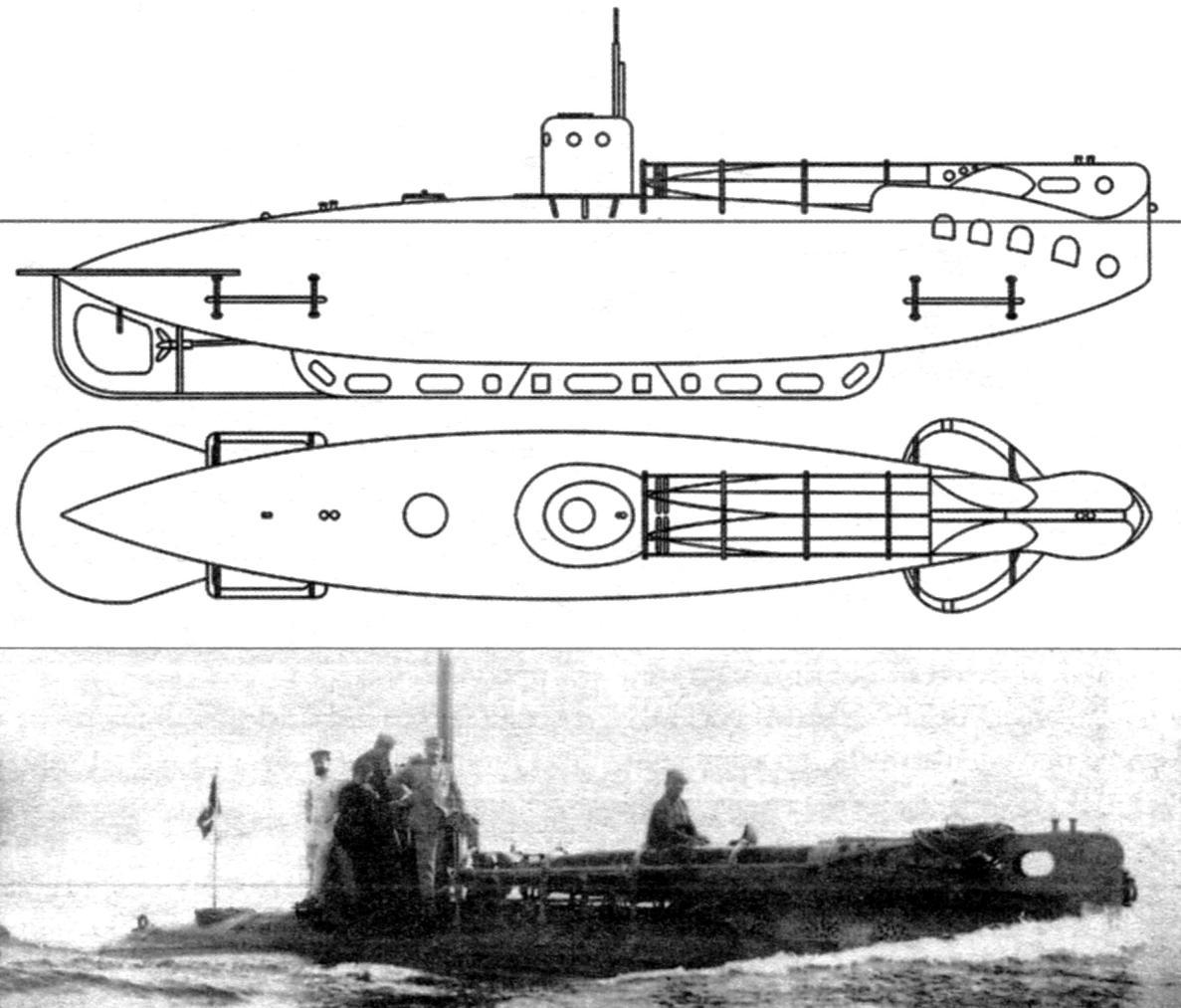 Малая подводная лодка «А-1», Италия, 1915 г.
