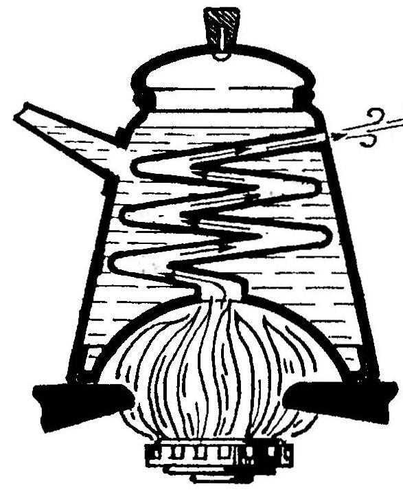 Схема прохождения горячих газов в чайнике-самоваре