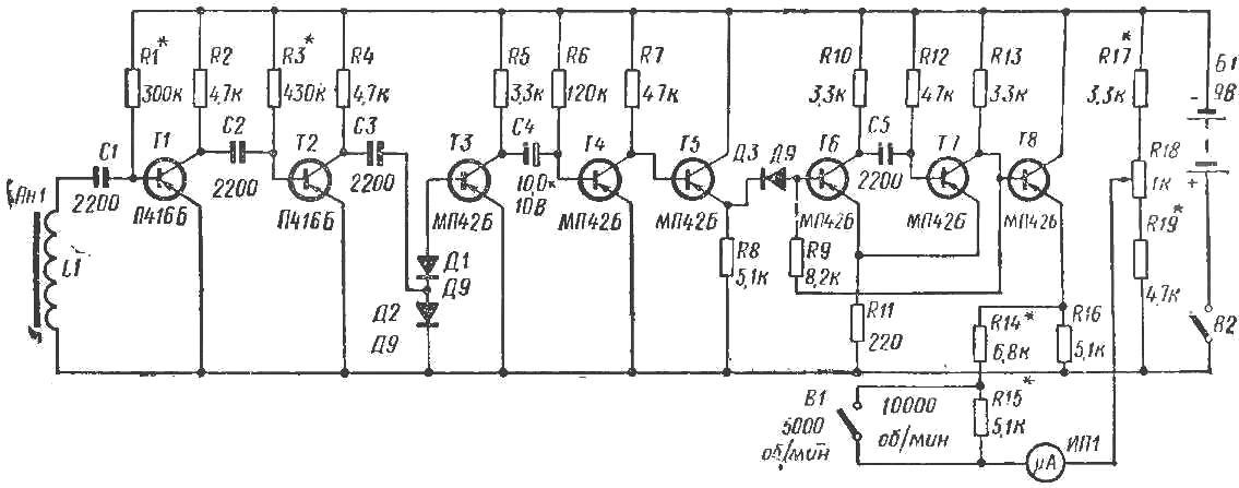 Рис. 1. Принципиальная схема электронного тахометра
