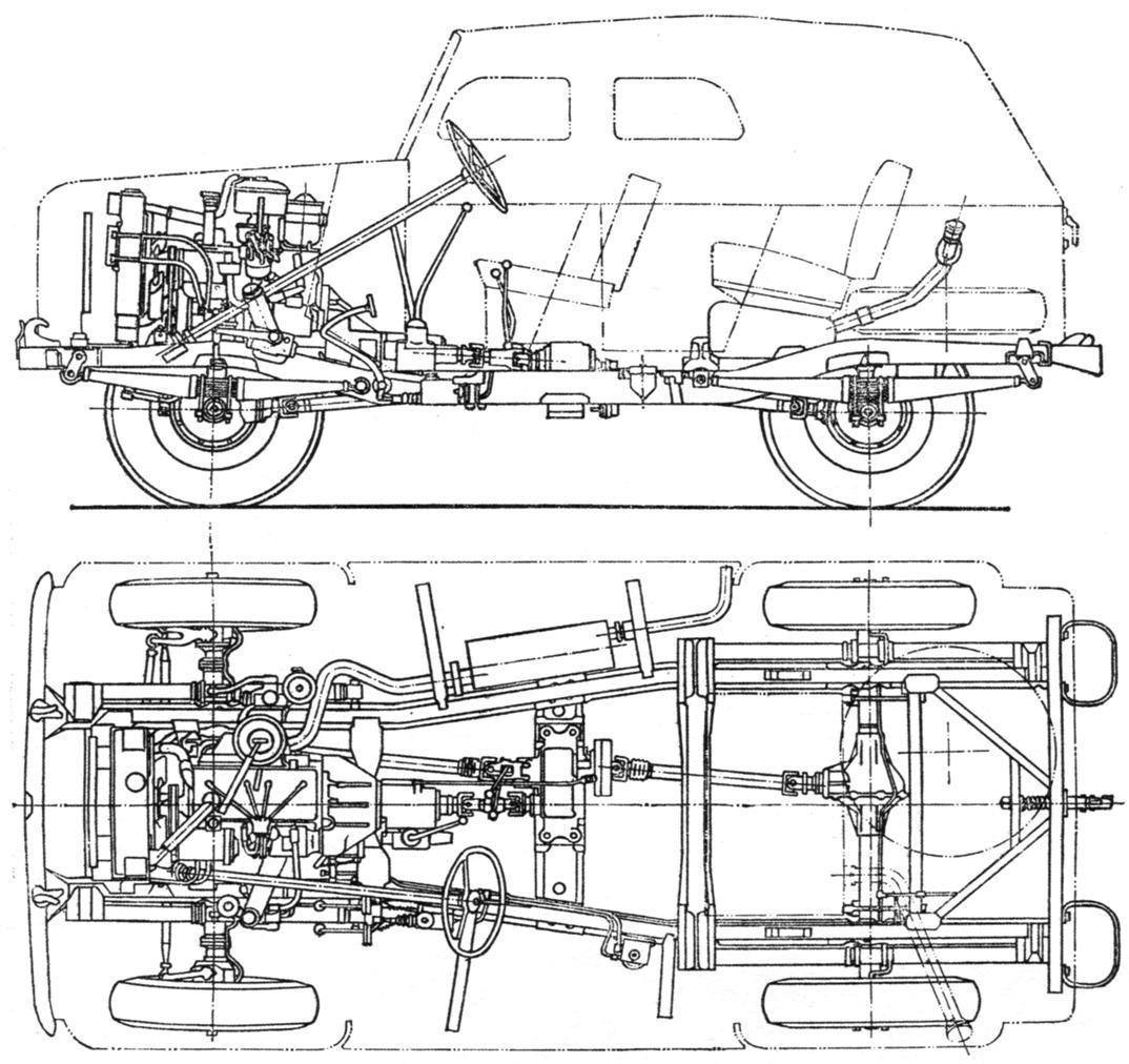 Шасси автомобиля ГАЗ-69 А. Бак для топлива показан в плане условным пунктиром