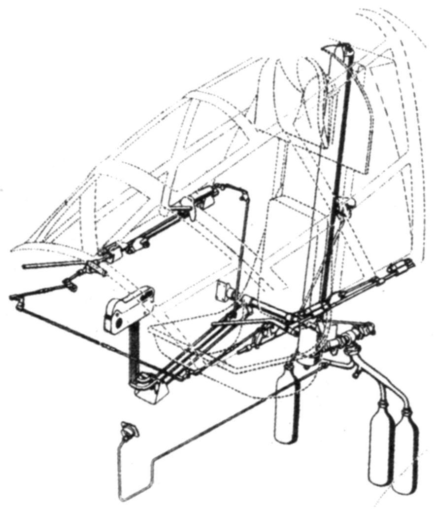 Схема пневматического аварийного сбрасывания фонаря и катапультируемого кресла