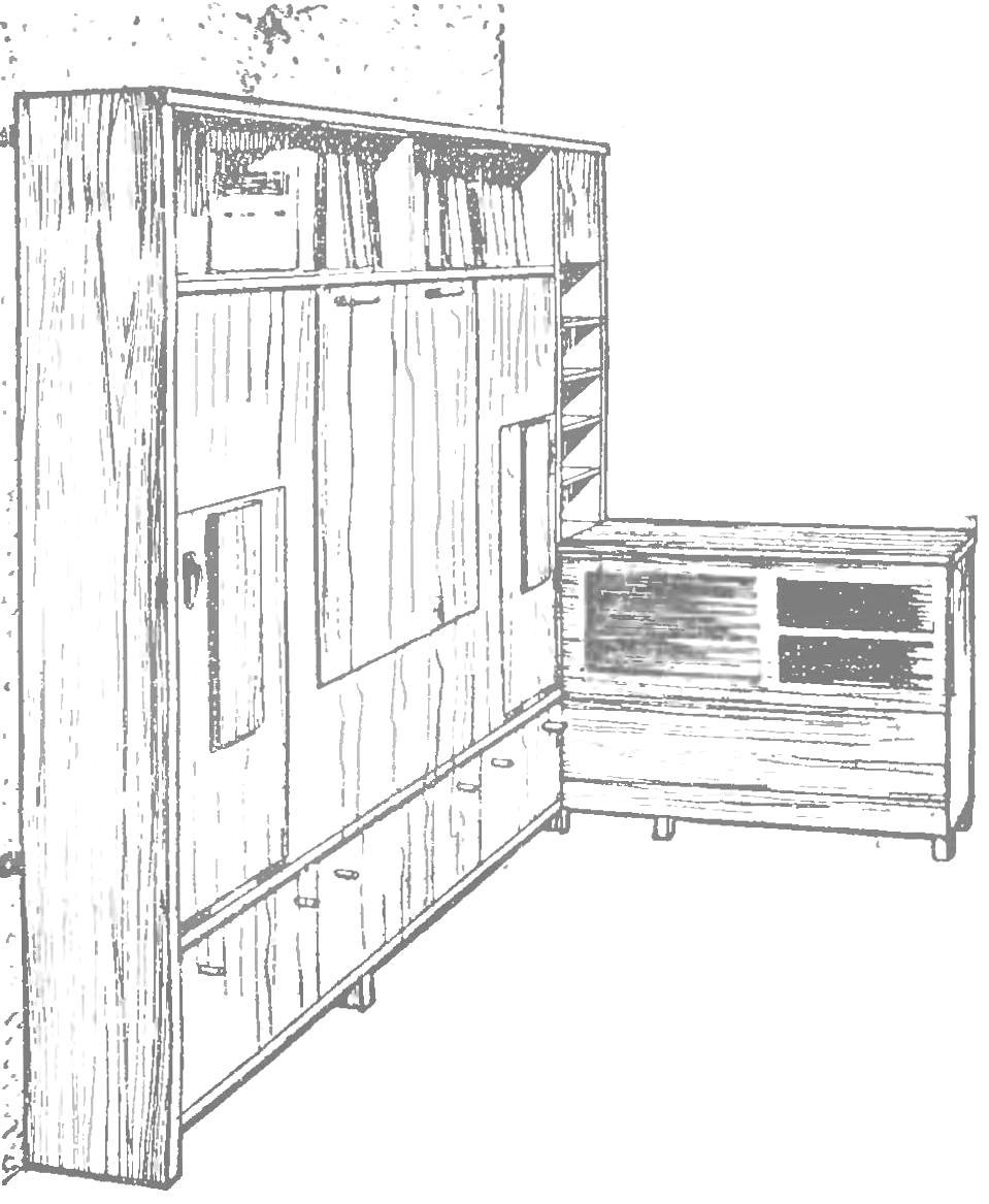 Рис. 1. Гарнитур «Универсал» с боковой тумбочкой, общий вид.