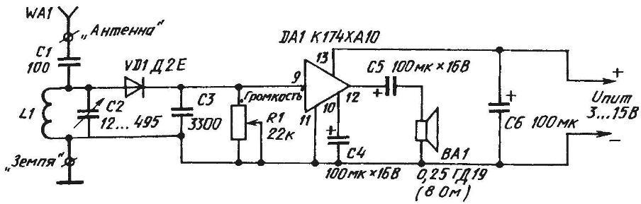 Принципиальная электрическая схема поставщика музыкальных программ (на базе детекторного приемника и микросхемы-усилителя низкой частоты)