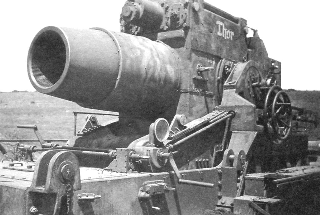 600-mm mortar installation. Weight guns - 69 tons, length - 5068 mm, or 8,44 klb, and range of a heavy concrete-piercing shell up to 4.3 km
