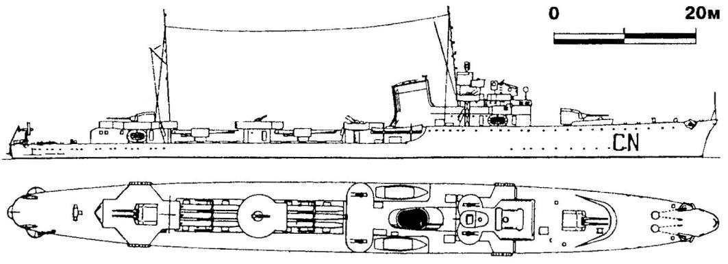 249. Эсминец «Камича Нера», Италия, 1938 г.