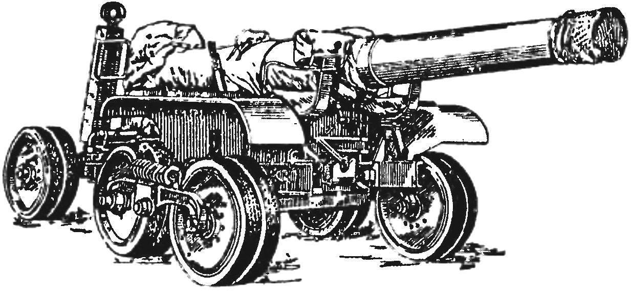 Gun carriage Br-10 with a gun